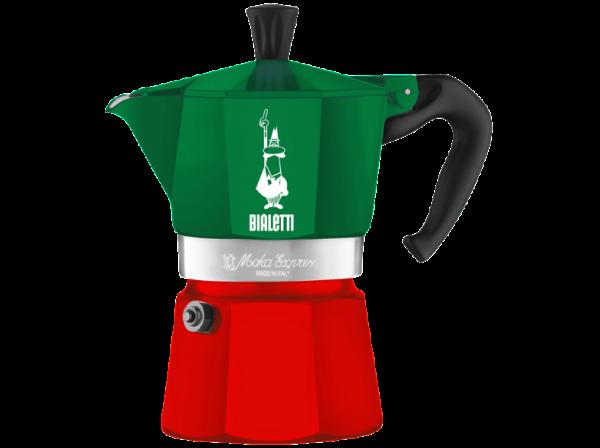 Moka Express 6 Tassen grün und rot /Bialetti