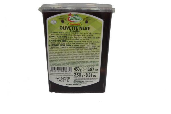 Oliven schwarz 450 g Schale /Antipasti Attina