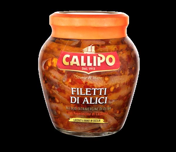 Filetti piccanti di Alici all´Olio extravergine di Oliva con Chili di Calabria 75g / Callipo