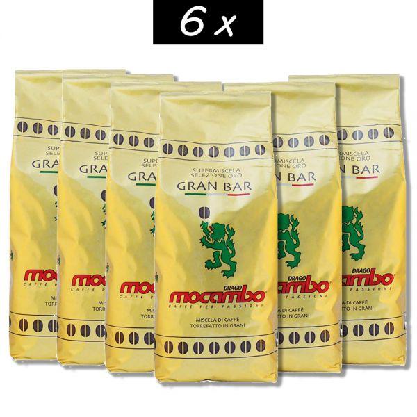 6x Caffe Gran Bar Gold ganze Bohnen 1Kg/Mocambo