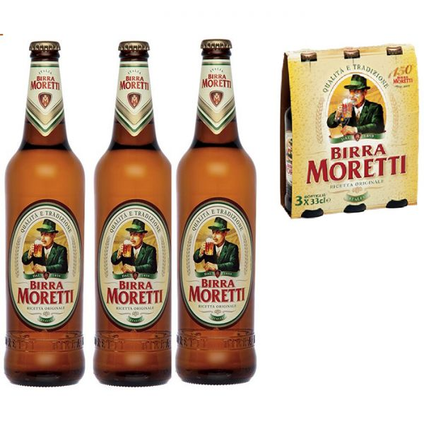 Birra Moretti 3 x 0,33 Liter Flaschen / Birra Moretti | Bier ...